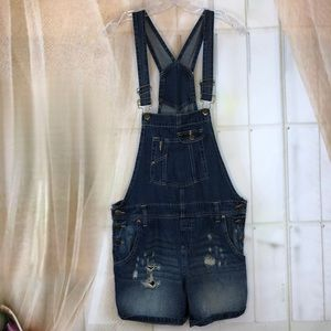L.E.I Denim Distressed Overalls